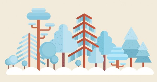 flat forest scene composition