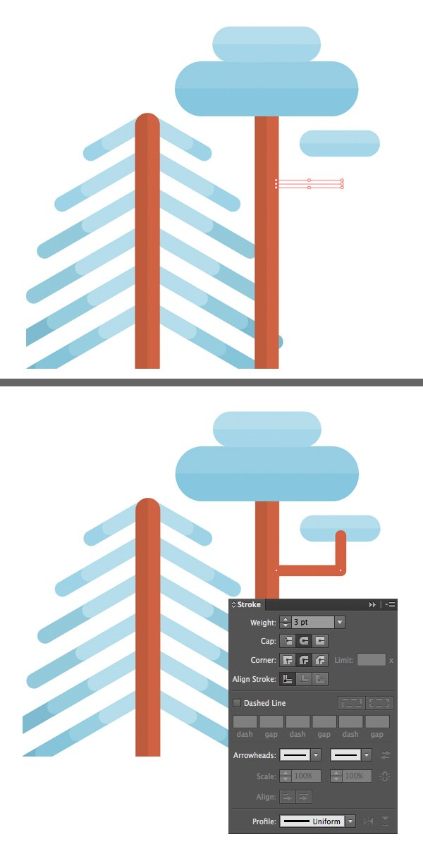 use strokes lines to make branches