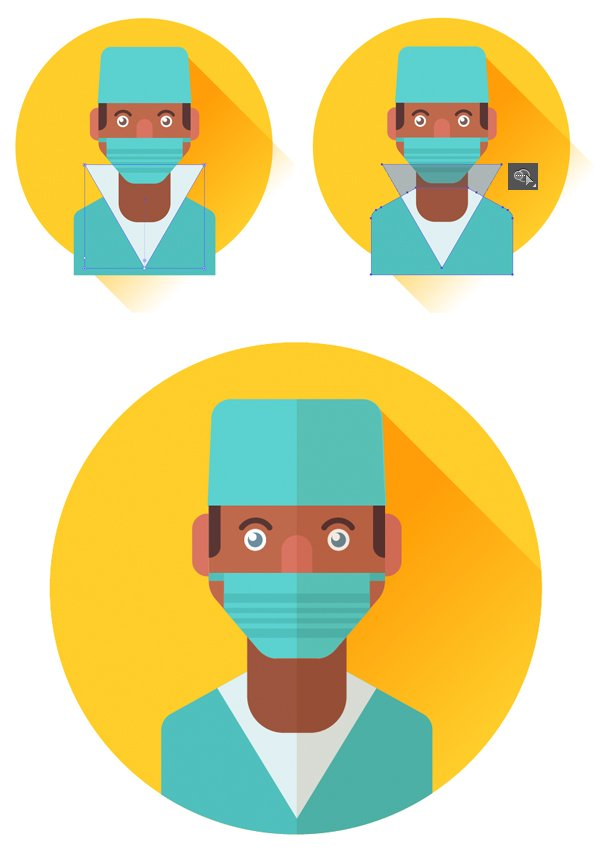 add elements to the uniform of the surgeon