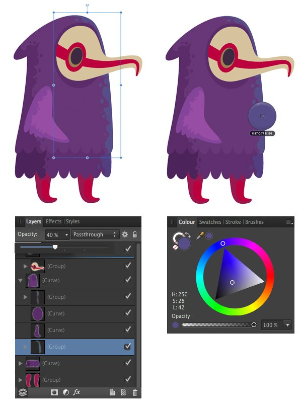 edit the colors with the color box and opacity