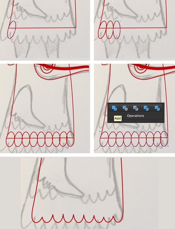 add feathers with ellipse tool