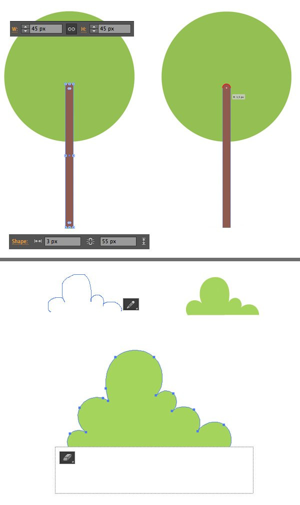 make plants and trees with basic shapes and pencil tool