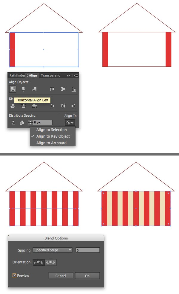 add stripes with blend tool