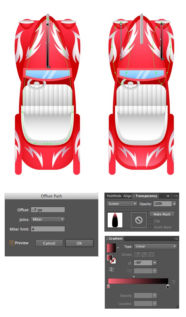 add highlights to the car in Screen Blending mode