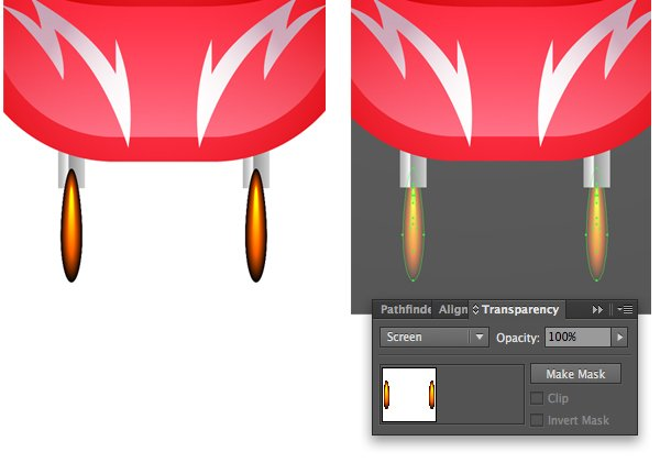 switch the Blending Mode of flames to Screen