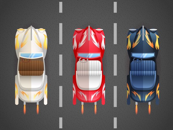 grease movie aerial view of retro cars with lightning pattern