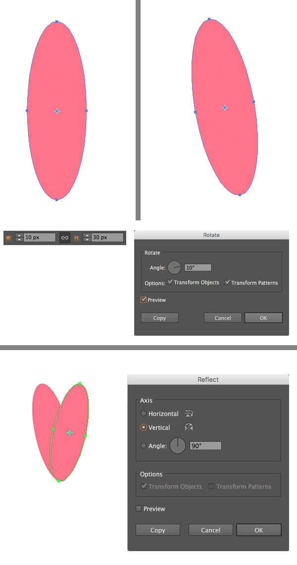 make a petal from ellipse 1