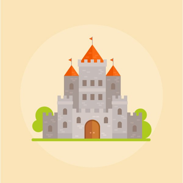 flat medieval stone fantasy castle is ready