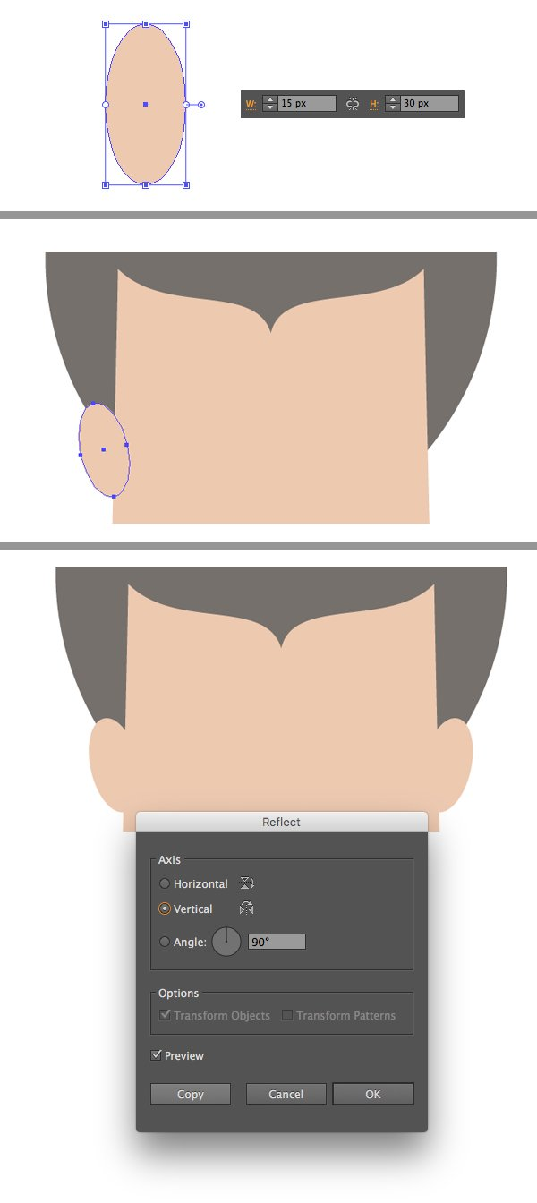 add the ears with ellipse tool
