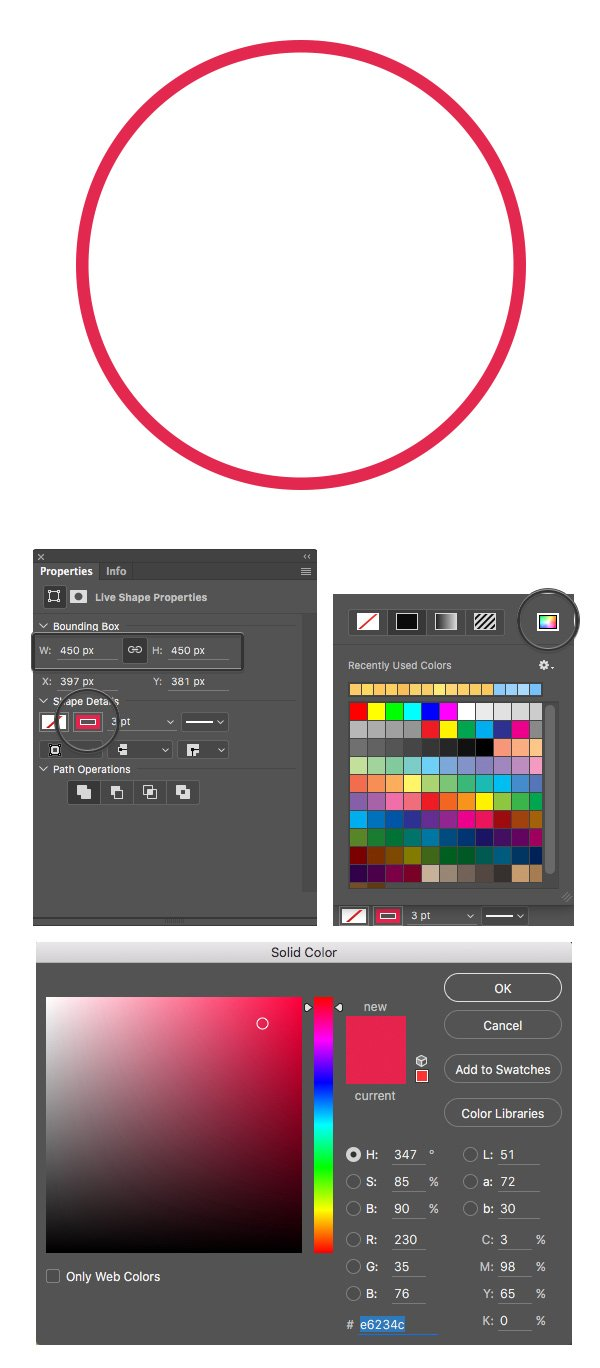 make red circle with ellipse tool