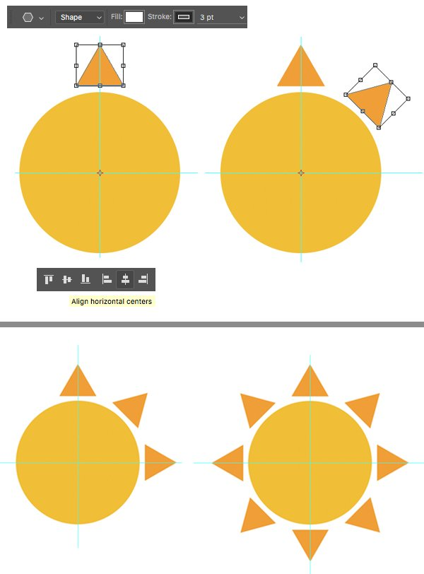 create triangle sunbeams with transformation