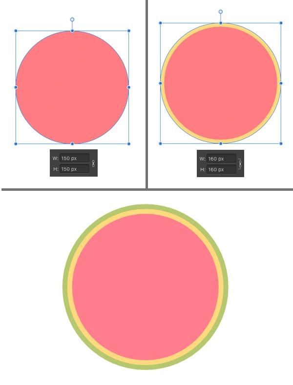 make a watermelon from three circles