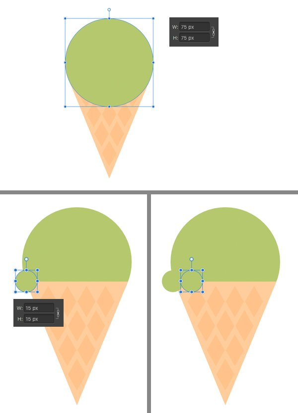 make a green circle scoop of ice-cream