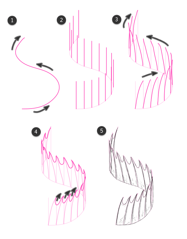 how to draw fish fins snake row