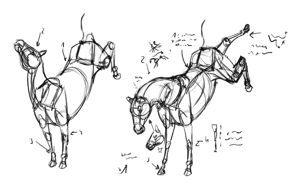 how to draw from imagination horse animal blocks pose reference sheet remembering
