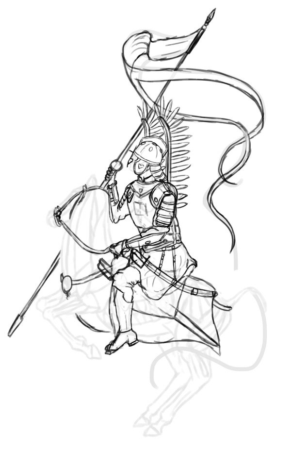 how to draw polish winged hussar
