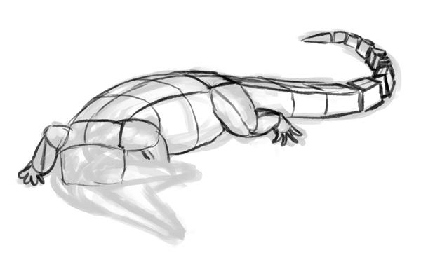 how to draw crocodile step by step 2
