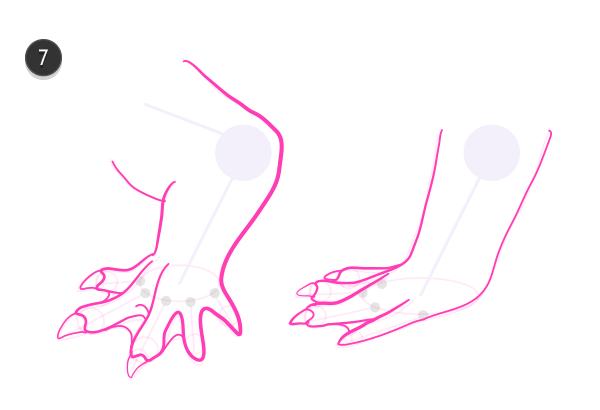 how to draw crocodile paws claws feet 8