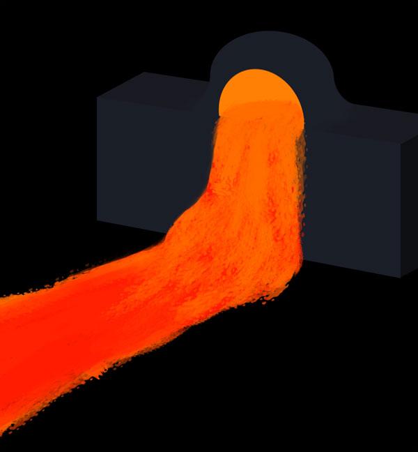 How to paint lava flow river lake photoshop digital 2
