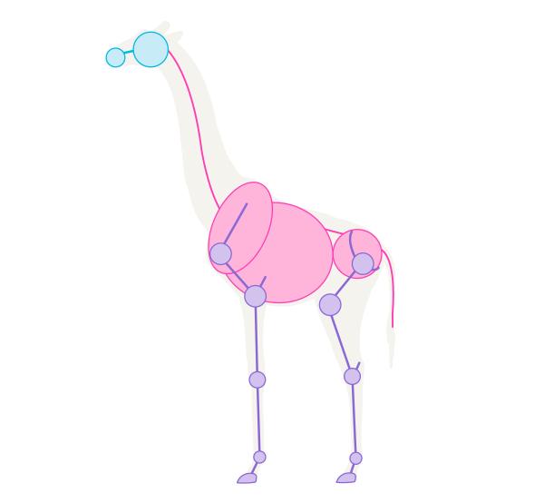 how to draw skeleton giraffe pose 2