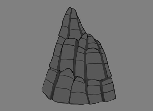photoshop rock mountain paint shade crevices