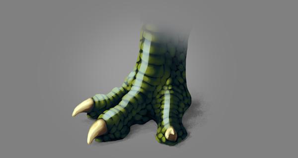 photoshop dragon claw foot blue shine