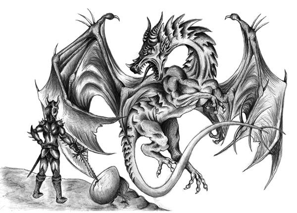 pencil drawing dragon scene