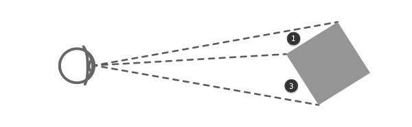 perspective cube rotated horizontally