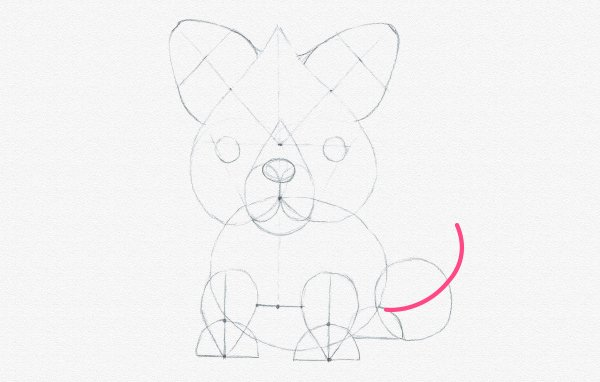 how to draw fox tail direction bent