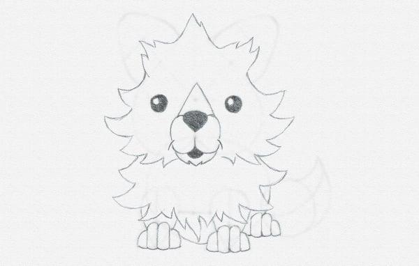 draw cartoon fox belly