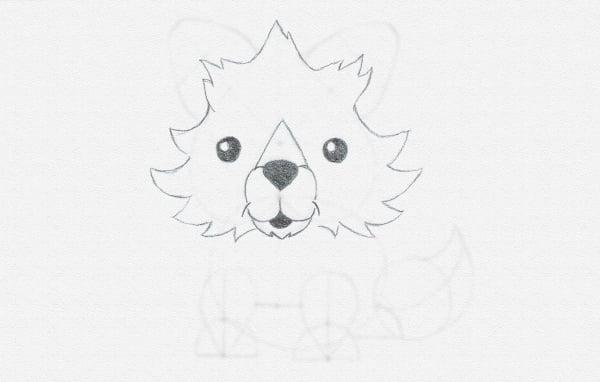 draw fox snout cartoon