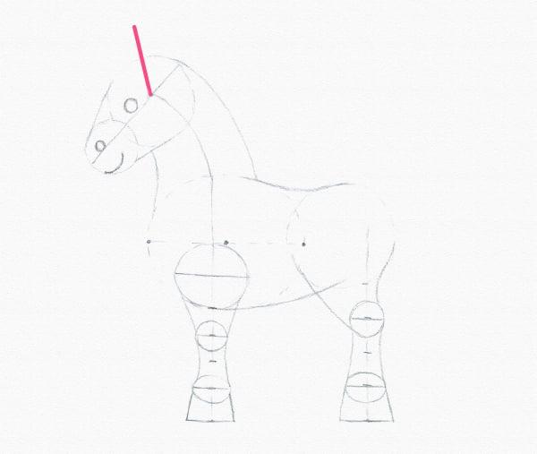 draw pony ear line