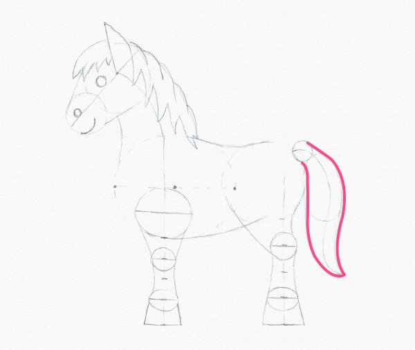 draw pony tail complete
