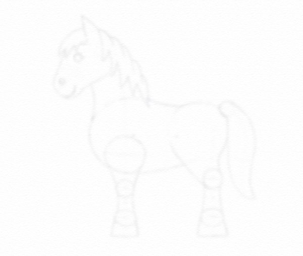 draw pony two sheets paper
