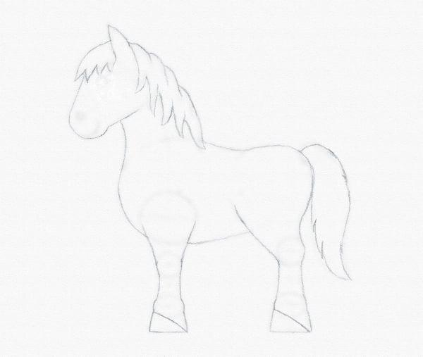 draw pony mane tail
