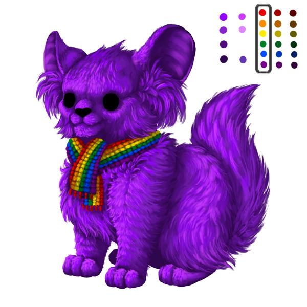 digital painting creature small light rainbow