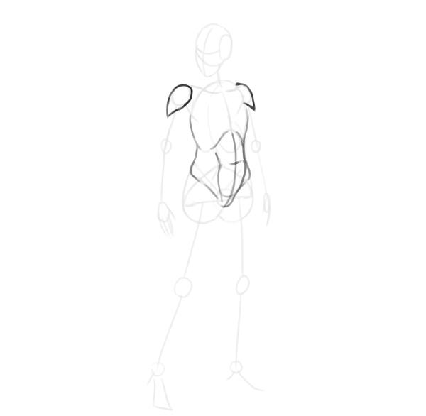 draw a realistic female warrior arm musles deltoids
