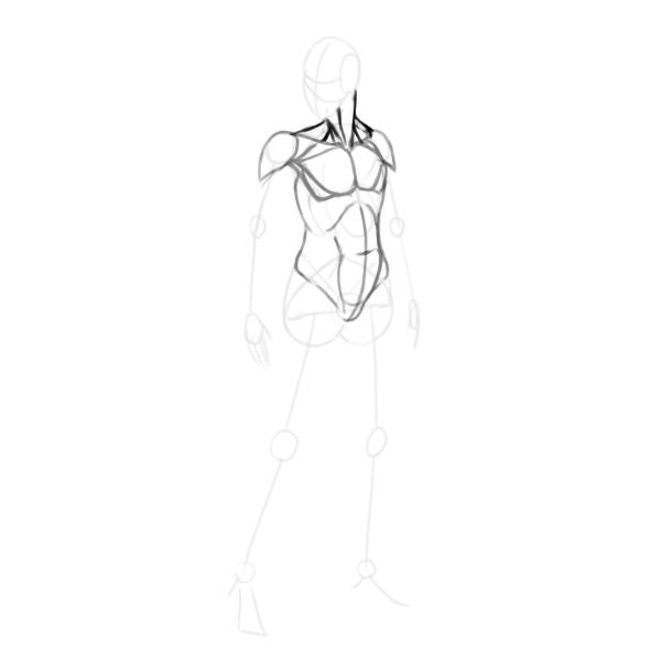 draw a realistic female warrior neck