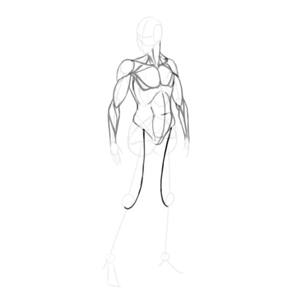 draw a realistic female warrior thigh muscle front