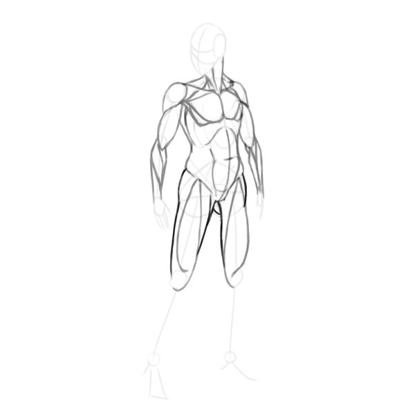 draw a realistic female warrior thigh muscle complete