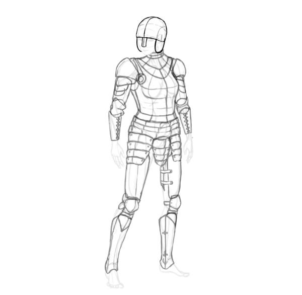 draw a realistic female warrior armor helmet
