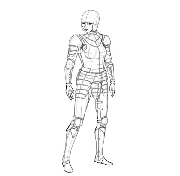 draw a realistic female warrior armor details gauntlets