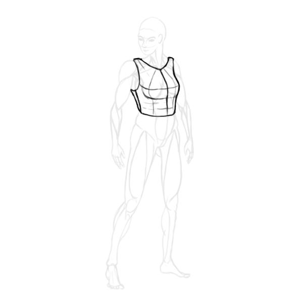 draw a realistic female warrior armor cuirass