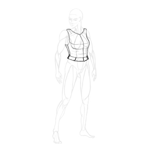 draw a realistic female warrior armor cuirass lower
