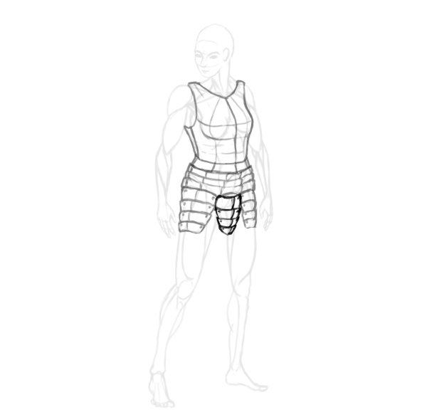draw a realistic female warrior armor crotch tassets