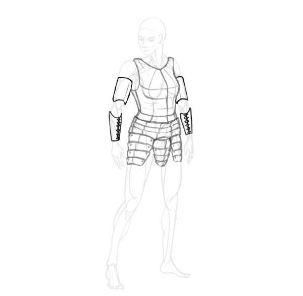 draw a realistic female warrior armor arm guards