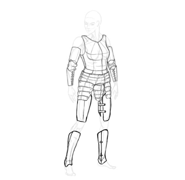 draw a realistic female warrior armor greaves cuisses thigh