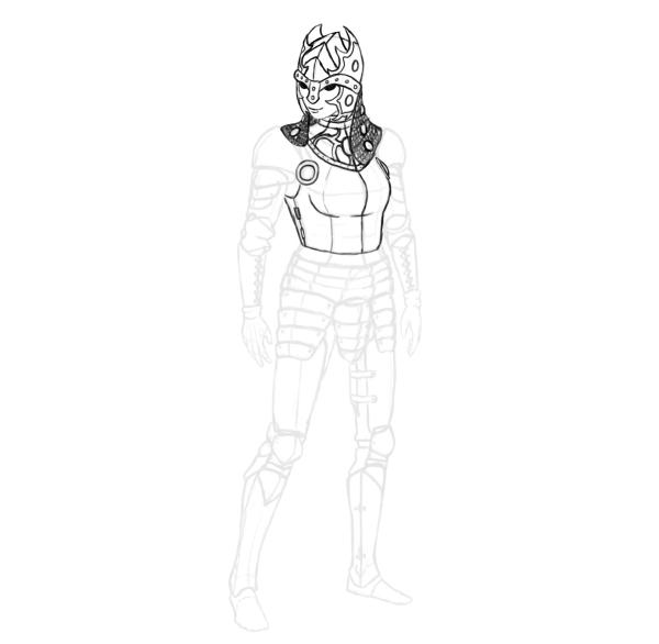draw realistic female armor functional helmet cuirass decoration