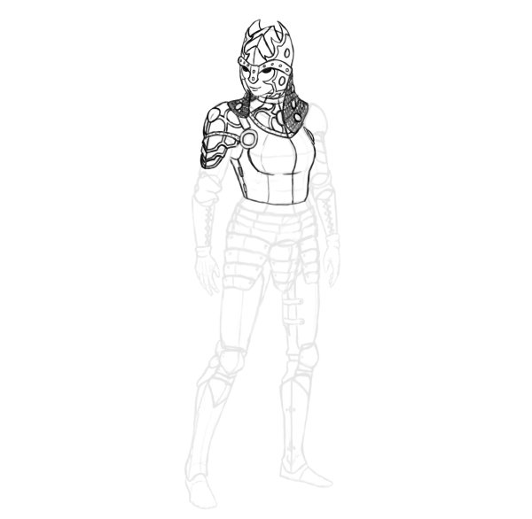 draw realistic female armor functional shoulder ornaments