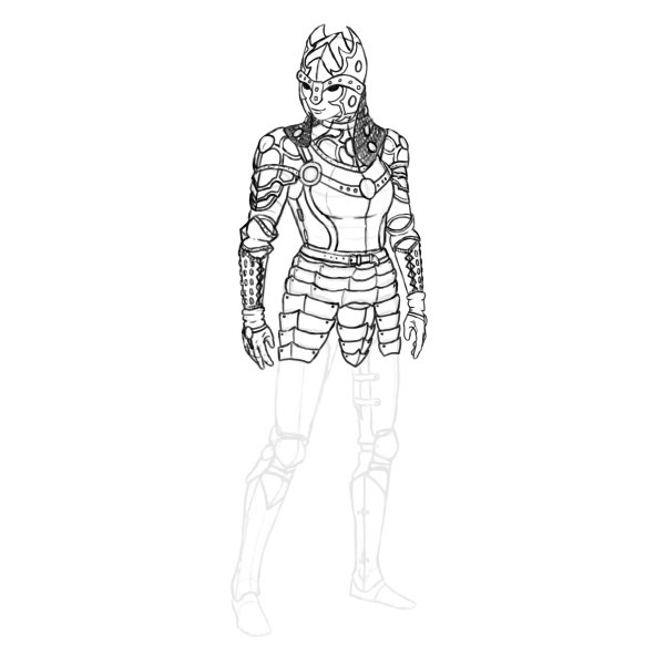 draw realistic female armor functional metal skirt